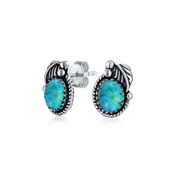 BLING Sterling Silver Twisted Rope Turquoise Studs