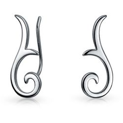 BLING Sterling Silver Mordern Swirl Pin Earrings