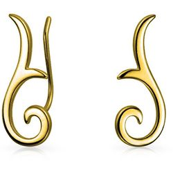 BLING Gold Plated Modern Swirl Ear Pin Earrings