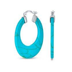 BLING Silver Boho Style Turquoise Hoop Earrings