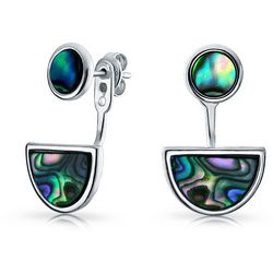 BLING Abalone Half Moon Front Back Earrings