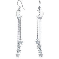 BLING Sterling Silver Moon & Stars Dangle Earrings