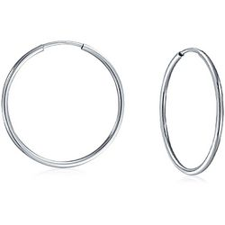 BLING Sterling Silver Thin 0.5'' Hoops