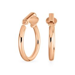 BLING Sterling Silver Clip Rose Gold Hoops