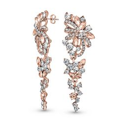 BLING Rose Gold Crystal Flower Chandelier Earrings