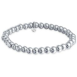 BLING Sterling Silver 6mm Bead Stretch Bracelet