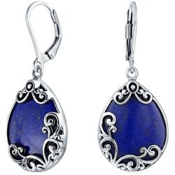 BLING Sterling Silver Lapis Teardrop Earrings