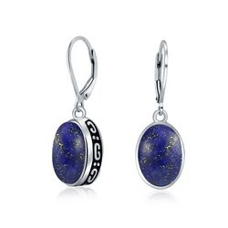 BLING Sterling Silver Lapis Lazuli Oval Earrings