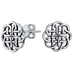 BLING Round Celtic Knot Shield Stud Earrings