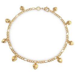 BLING Figaro Chain Heart Charm Anklet