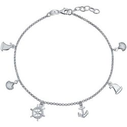 BLING Sterling Silver Nautical Charm Anklet