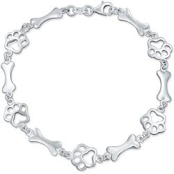 BLING Sterling Silver Paw & Bone Design Bracelet