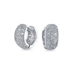 BLING Victorian Style Pave Huggie Hoops