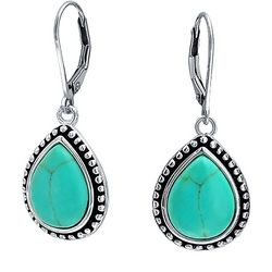 BLING Sterling Silver Teardrop Turquoise Earrings