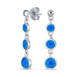 BLING Graduated Blue Opal Bezel Drop Earrings