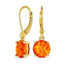 BLING Fire Opal Gold Plate Silver Drop Earrings
