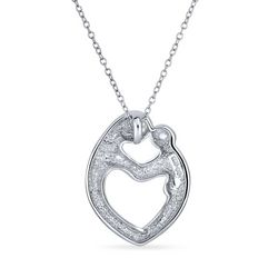 BLING Mother & Child Heart Shaped Silver Pendant