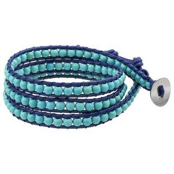 BLING Turquoise Beaded Leather Wrap Bracelet
