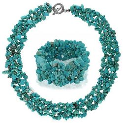 BLING Multi Strand Turquoise Bracelet & Necklace
