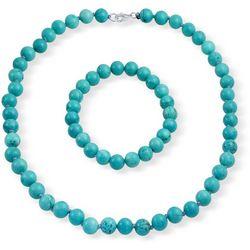 BLING Turquoise Beaded Necklace & Bracelet Set