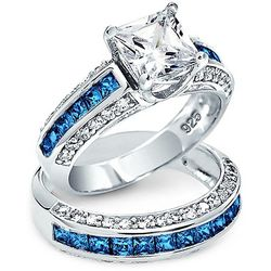 BLING Sapphire 2 ct. Square Cut Wedding Ring Set