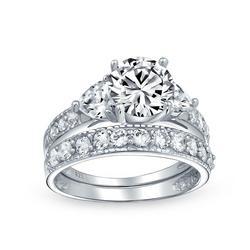 Silver Heart Side Stones Wedding Ring Set