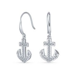 BLING Jewelry Sterling Silver Anchor Earrings