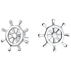 BLING Jewelry Sterling Silver Ship Wheel Earrings
