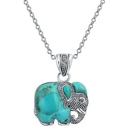 BLING Jewelry Turquoise Elephant Pendant Necklace