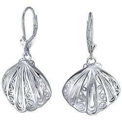 BLING Jewelry Nautical Seashell Leverback Earrings