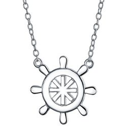 BLING Jewelry Nautical Ship Wheel Pendant Necklace