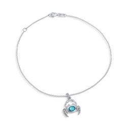 BLING Jewelry Blue Opal Crab Anklet