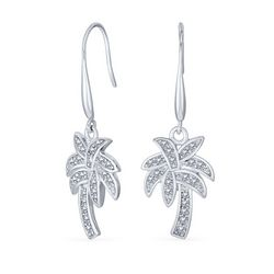 BLING Jewelry Pave CZ Palm Tree Drop Earrings