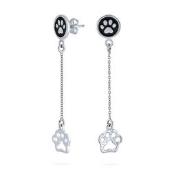 BLING Jewelry Paw Print Dangle Earrings