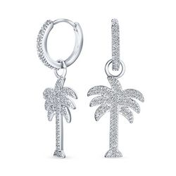 BLING Jewelry Palm Tree Huggie Dangle Earrings