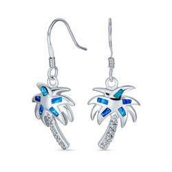 BLING Jewelry Blue Opal Palm Tree Dangle Earrings