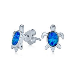 BLING Jewelry Blue Opal Sea Turtle Stud Earrings