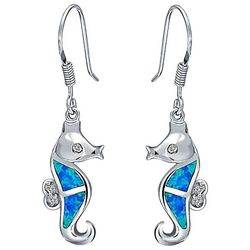 BLING Jewelry Blue Opal Seahorse Drop Earrings