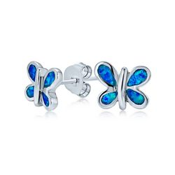 BLING Jewelry Blue Opal Butterfly Stud Earrings