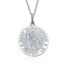 BLING St. Christopher Silver Pendant Necklace
