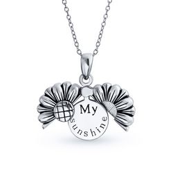 BLING Open Sunflower Sterling Silver Pendant