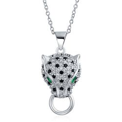 BLING Emerald Eye Panther Sterling Pendant