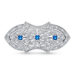BLING Art Deco Style Sapphire Sterling Brooch