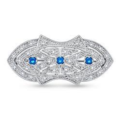 Art Deco Style Sapphire Sterling Brooch