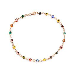 BLING Multi Color Beaded Rose Evil Eye Anklet