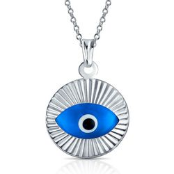 BLING Moving Glass Evil Eye Steling Silver Pendant