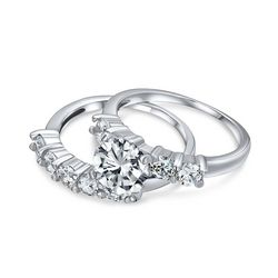 BLING Cubic Zirconia Round Engagement Wedding Set