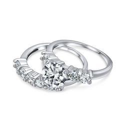 Cubic Zirconia Round Engagement Wedding Set
