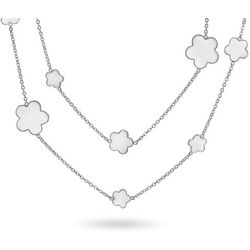 BLING White Enamel Clover Charm Necklace