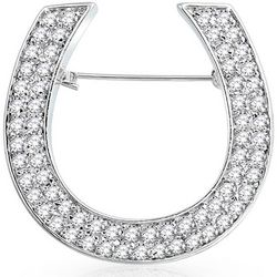 BLING Cubic Zirconia Lucky Horseshoe Brooch